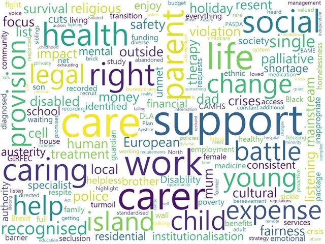 Wordcloud from the parent carer workshop